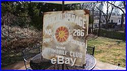 1920s Vtg Porcelain AAA Automobile Club Missouri St Louis Sign Gas Station Oil
