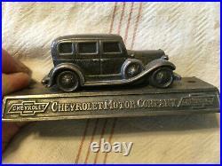 1930's Vintage Metal Sign Chevrolet Automotive Figurine Dealership Sales Award