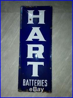 1930s HART CAR BATTERIES VINTAGE OIL GAS STATION GARAGE PORCELAIN ENAMEL SIGN