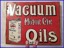 1940's Vintage Porcelain 2 Sided Mobiloil Vacuum Motor Car Oils Enamel Sign