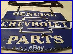 1940's Vintage Porcelain Chevrolet Genuine Parts 2 Sided Enamel Sign