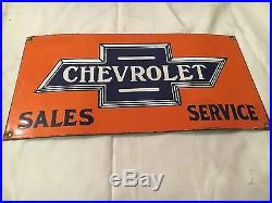 1940's Vintage Porcelain Chevrolet Motors Service Station Enamel Sign