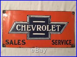 1940's Vintage Porcelain Chevrolet Sales Service Enamel Sign