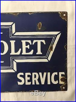 1940's Vintage Porcelain Chevrolet Sales -Service Enamel Sign