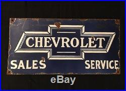 1940's Vintage Porcelain Chevrolet Sales & Service Enamel sign