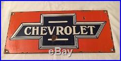 1940's Vintage Porcelain Chevrolet Sales Service Station Rare Enamel Sign