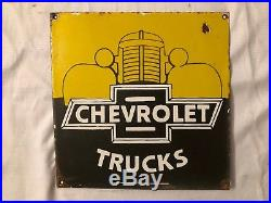 1940's Vintage Porcelain Chevrolet Trucks Enamel Sign