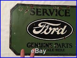 1940's Vintage Porcelain Ford Genuine Parts 2 Sided Enamel Sign