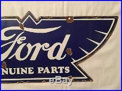 1940's Vintage Porcelain Ford Genuine Parts Enamel Sign