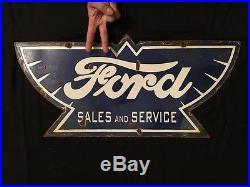 1940's Vintage Porcelain Ford Sales & Service 2 Sided Enamel Sign