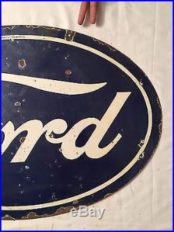 1940's Vintage Porcelain Ford Sales-Service Station 2 Sided Enamel Sign