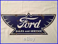1940's Vintage Porcelain Ford Sales and Service Enamel Sign