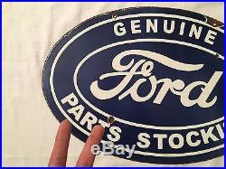 1940's Vintage Porcelain Ford Stockists 2 Sided Enamel Sign