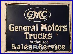 1940's Vintage Porcelain GMC Genaral Motors Trucks Sales Service Enamel Sign