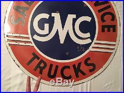 1940's Vintage Porcelain GMC Sales & Service Trucks 2 Sided Enamel Sign