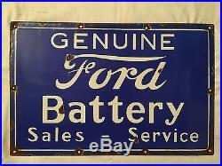 1940's Vintage Porcelain Genuine Ford Battery Sales Service Enamel Sign