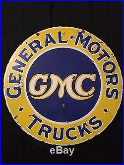 1940's Vintage Porcelain Gmc Trucks 2 Sided Enamel Sign