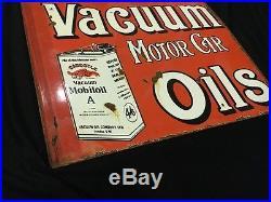 1940's Vintage Porcelain Mobil Oil Vacuum Motor Car Oils 2 Sided Enamel Sign