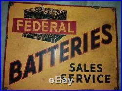 1940s FEDERAL CAR BATTERIES VINTAGE OIL GAS MOTOR GARAGE PORCELAIN ENAMEL SIGN