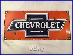 1940s Vintage Porcelain Chevrolet Motors Enamel Sign
