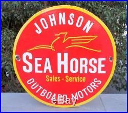 1950 Vintage Old Johnson Sea Horse Outboard Motor Ad Porcelain Enamel Sign Board