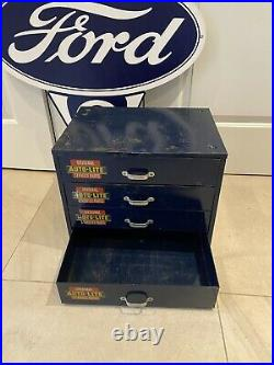1950's Vintage Ford Autolite Parts Cabinet Dealership Fomoco Original Rotunda
