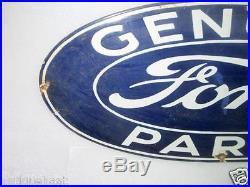 1950's Vintage Old Collectible Genuine Ford Parts Ad Porcelain Enamel Sign Board