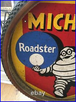 1960s Bike Shop Vintage Hardboard Bibendum Michelin Cycle Tyres Sign Man Cave
