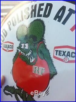 1963 Texaco Rat Fink Porcelain Sign Gas Oil Az Us 66 Rod Car Wash Vintage Nos