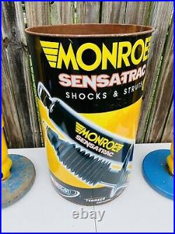 2 Monroe Shock Absorber Vintage Advertising Pedestal Ashtray And Metal Drum Can