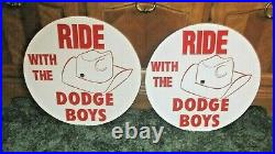 2 Vintage Style Wheel Disc's Mopar RIDE WITH THE DODGE BOYS Cuda Charger Sign