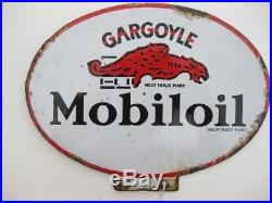 24841 Old Vintage Garage Enamel Sign Advert Petrol Gas Oil Cabinet Jug Mobiloil