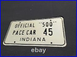 45 Indianapolis Official 500 Pace Car License plate. Vintage
