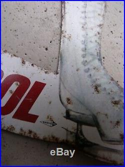 Ancienne PLAQUE TOLE PIN UP VEEDOL DUCATEZ, vintage, garage, auto, moto, no copie