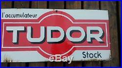 Ancienne plaque émaillée DOUBLE accumulateur TUDOR, loft, usine, vintage, garage