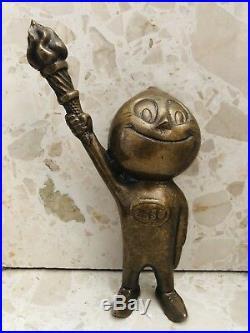 Antique Vintage Esso Oil Fuel Bronze Mascot Automobilia Garage Retro Collectable
