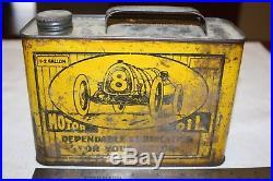Antique Vintage Race Car 8 Motor Oil Tin Gas Oil Can 1/2 Gallon Cap Soldered