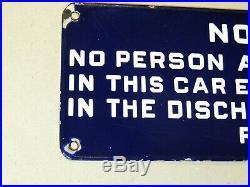 Antique vtg 1910's Porcelain Sign READING RAILROAD Employee Train Car Notice RR