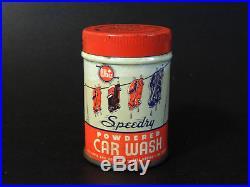 Antique vtg WHIZ Speedy CAR WASH Advertising TIN Art Deco Automobile Gas Oil Can