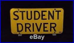 Awesome Vintage Original STUDENT DRIVER Metal License Plate/Sign, Scioto, 60s