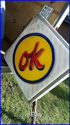Big Vintage Ok Used Car 2 Sided Sign