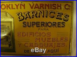 Brooklyn Varnish Co. Coach Car Varnish Vintage Embossed, Real Deal! Nice
