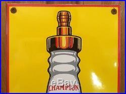 Champion Spark Plug Service Porcelain Sign Vintage 18 X 8 Gas Oil Garage Car