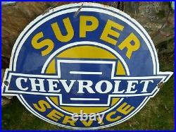 CHEVROLET Porcelain Sign Advertising Vintage Service 24 Domed old Chevy USA
