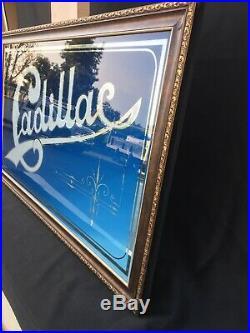 Cadillac Sign Vintage Mirrored 46x28 1940s Showroom Americana Eldorado Mirror
