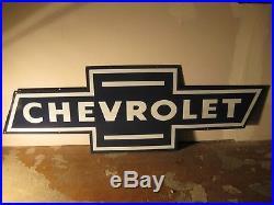 Chevrolet Bowtie Porcelain Part Service Automotive Dealer Car Sign Vintage Plate