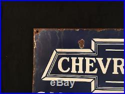 Chevrolet Motors Sales Service 1940's Vintage Porcelain Porcelain Enamel sign