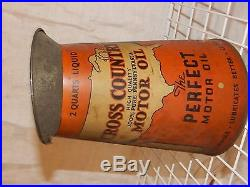 Cross country motor oil sears tin advertising car vintage antique pitcher garage
