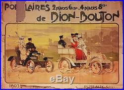 DION BOUTON original vintage antique advertising travel poster Car Auto 1903