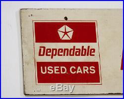 Dodge Used Car Headquarters Sign Dealer Dealership Chrysler Dependable VTG Tin